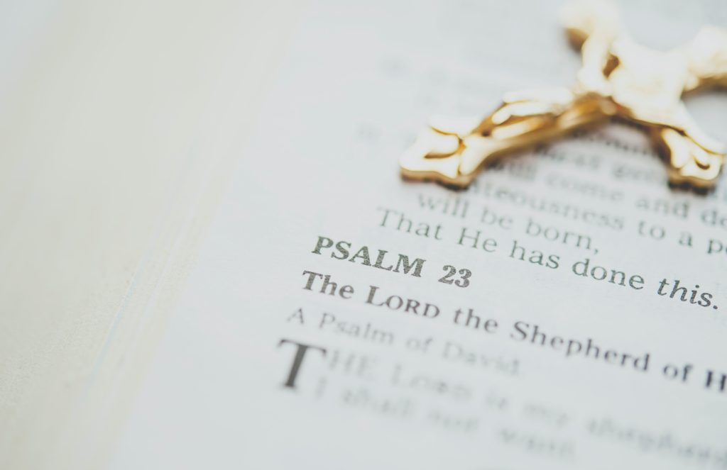 Bible open at Psalm 23